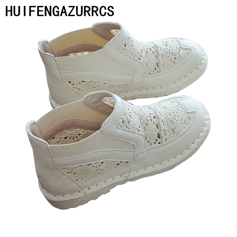 HUIFENGAZURRCS Lace summer net shoes breathable sandals fishermanpure handmade shoes super soft sole high boots casual