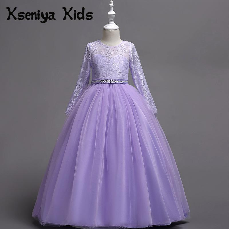 Kseniya Kids 2018 Spring And Summer New Children's Clothing Cute Princess Mesh Lace Long sleeved Big Children's Evening Dresses