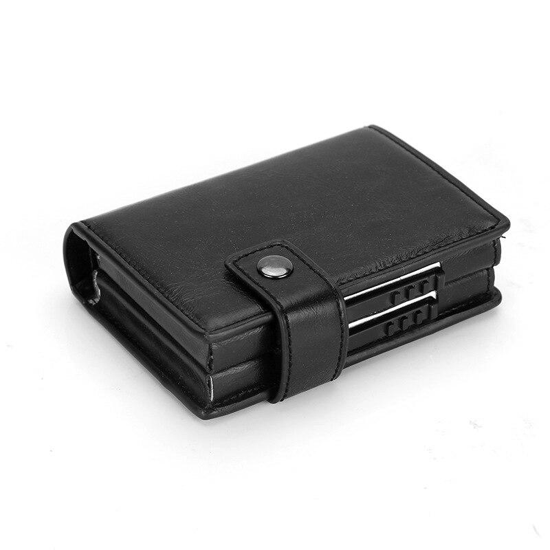 SIMLINE 2019 Aluminium Wallet RFID Blocking Men Metal Double Box Business Credit Card Holder Case Travel Smart Wallets For Male