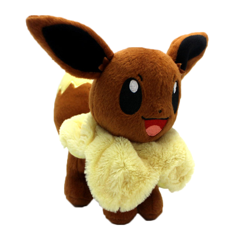 Hot Anime Character Eevee Plush Toys 20cm Kawaii Eevee Genius Soft Stuffed Animals Doll for Kids Toys Children Birthday Gift cute bulbasaur plush toys baby kawaii genius soft stuffed animals doll for kids hot anime character toys children birthday gift