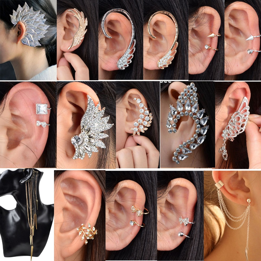 Earrings Jewelry Decors Ear-Cuff Non-Piercing Golden-Clip Gothic Women/men 1pc Big Unisex