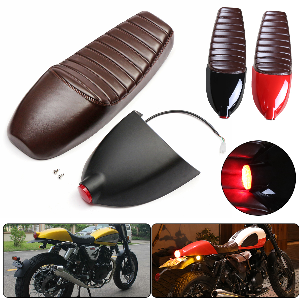 Moto Seat Cover with LED Light For Honda for Suzuki for Yamaha Motorcycle Cafe Racer Seat Refit Saddle with Tail Light new summer cool 3d mesh motorcycle seat cover breathable sun proof motorbike scooter seat covers cushion for honda yamaha suzuki