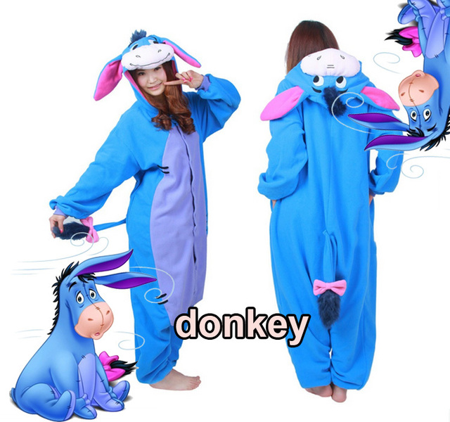 1a5f15d8e6c3 Halloween Party Costume Cute Blue Donkey Eeyore Onesie Pajamas Costume  Onesie Unisex Adult One-piece Sleepwear Tops Party