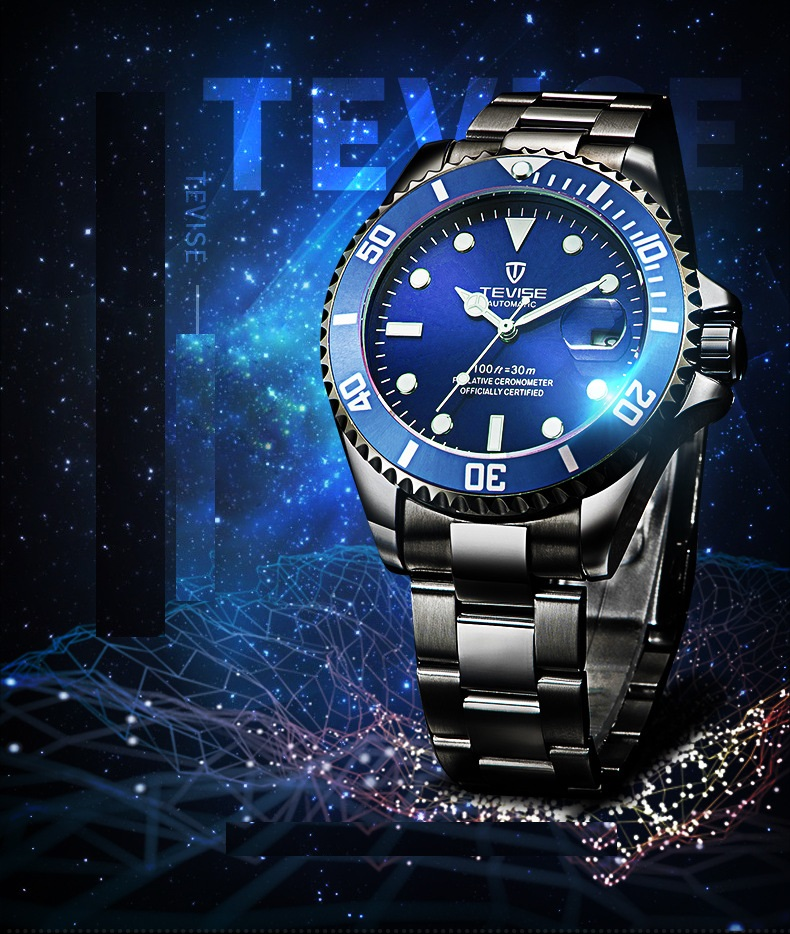 1TEVISE Red Watch Men Creative Luminous Watches Date Waterproof Clock Man Blue Automatic Watch Purple Mechanical Wristwatches (8)