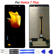 "For Nokia 7 Plus LCD Display 6.0"" 7Plus Display Touch Screen Glass Panel Digitizer Assembly Replacment TA-1062 lcd digitizer 50pcs lot high quality for nokia lumia1520 lcd display panel touch digitizer glass screen assembly frame nok001 free shipping"