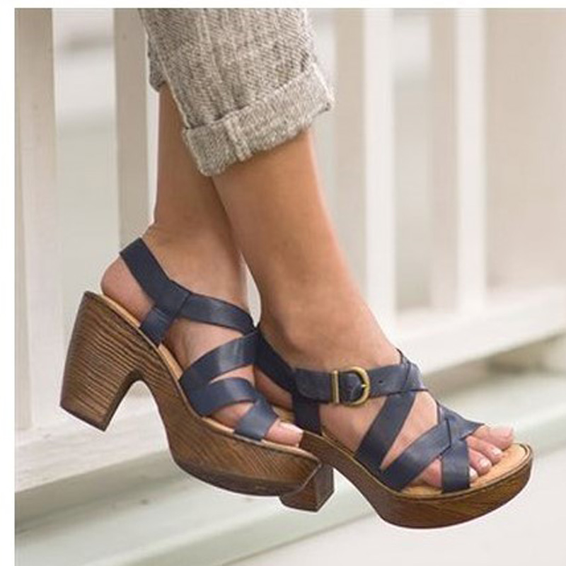 17 years of new high-end leather heels high comfort shoes fashion sandals 36-40.5