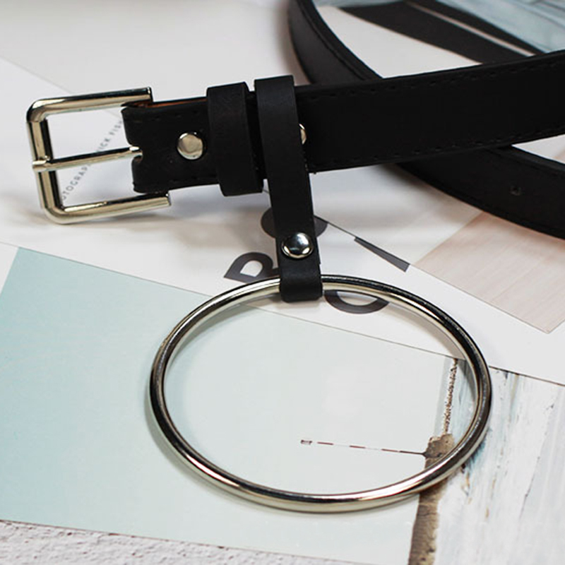Round Metal Circle Buckle Decoration   Belts   Women Waist   Belt   Punk Jeans Big O Ring Waistband Pin Buckle Faux Leather Straps
