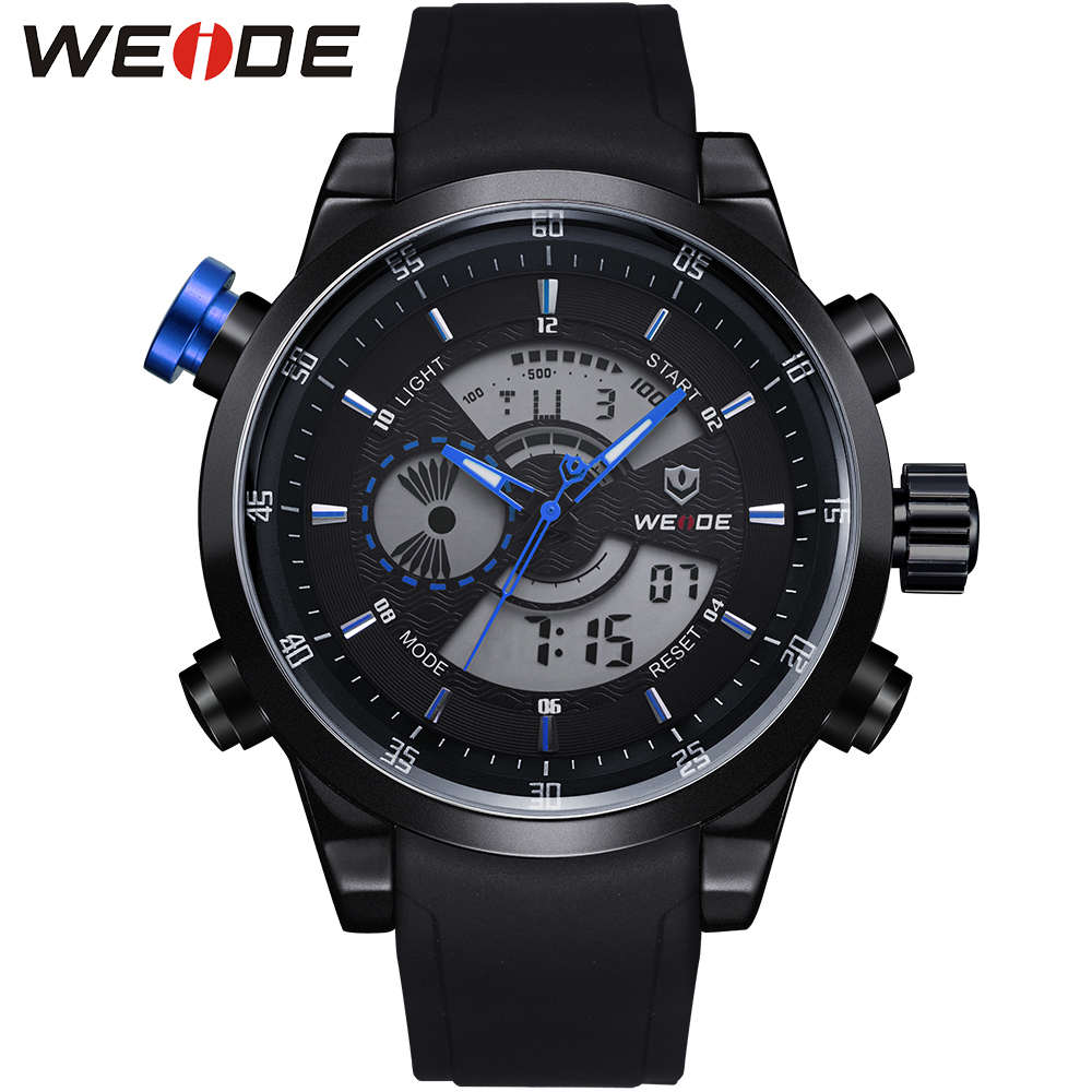 WEIDE Big Dial Sport Watch Analog Digital Dual Time Zones Display Water Resistant High Quality PU Strap Military Watches For Men waterproof weide brand military watch big round dial analog two time zones display leather strap men army sports waches relogio