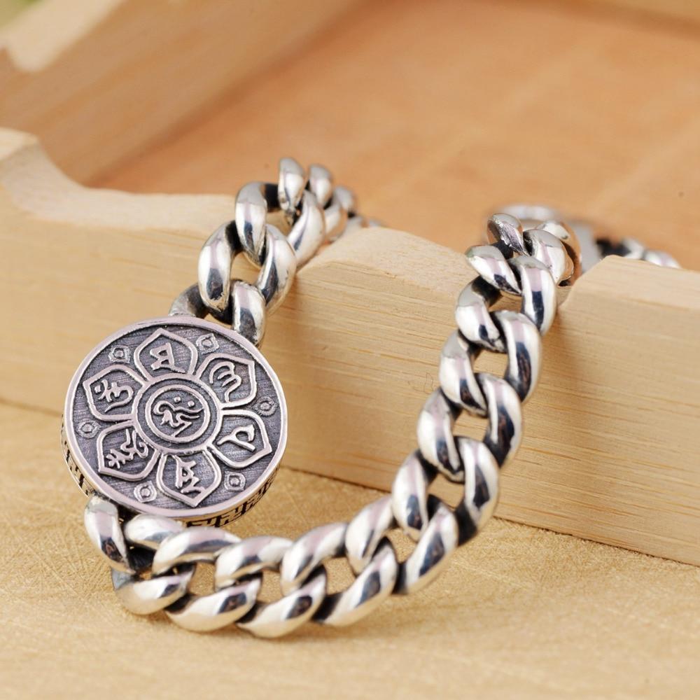 BALMORA Real925 argent Sterling 360 bouddhisme rotatif rapide Six mots Bracelet de Sutra pour hommes femmes cadeau bijoux de mode Vintage-in Bracelets from Bijoux et Accessoires    3