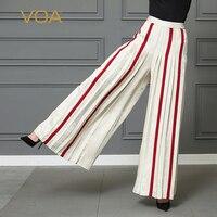 VOA тяжелые шелковые жаккардовые полоса Широкие штаны белые длинные брюки для женщин; Большие размеры 5XL свободные офисные Повседневное сере