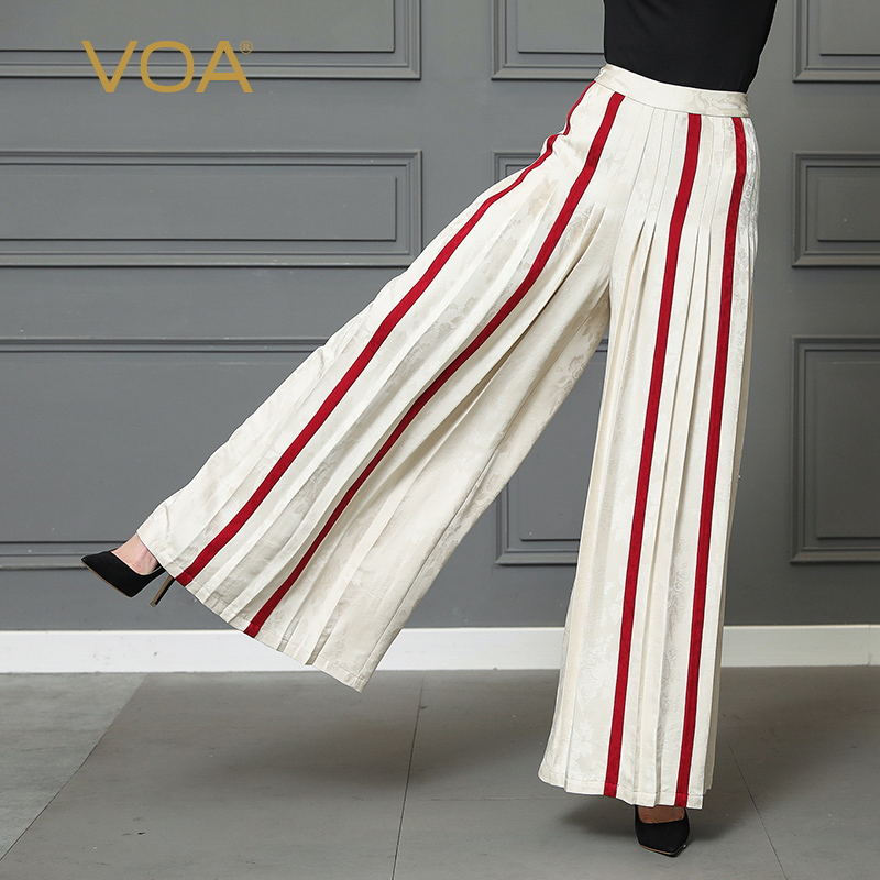 VOA Red Striped Silk Palazzo   Wide     Leg     Pants   White Long Trousers Women Plus Size 5XL Loose Office Casual High Waist Broeken K316