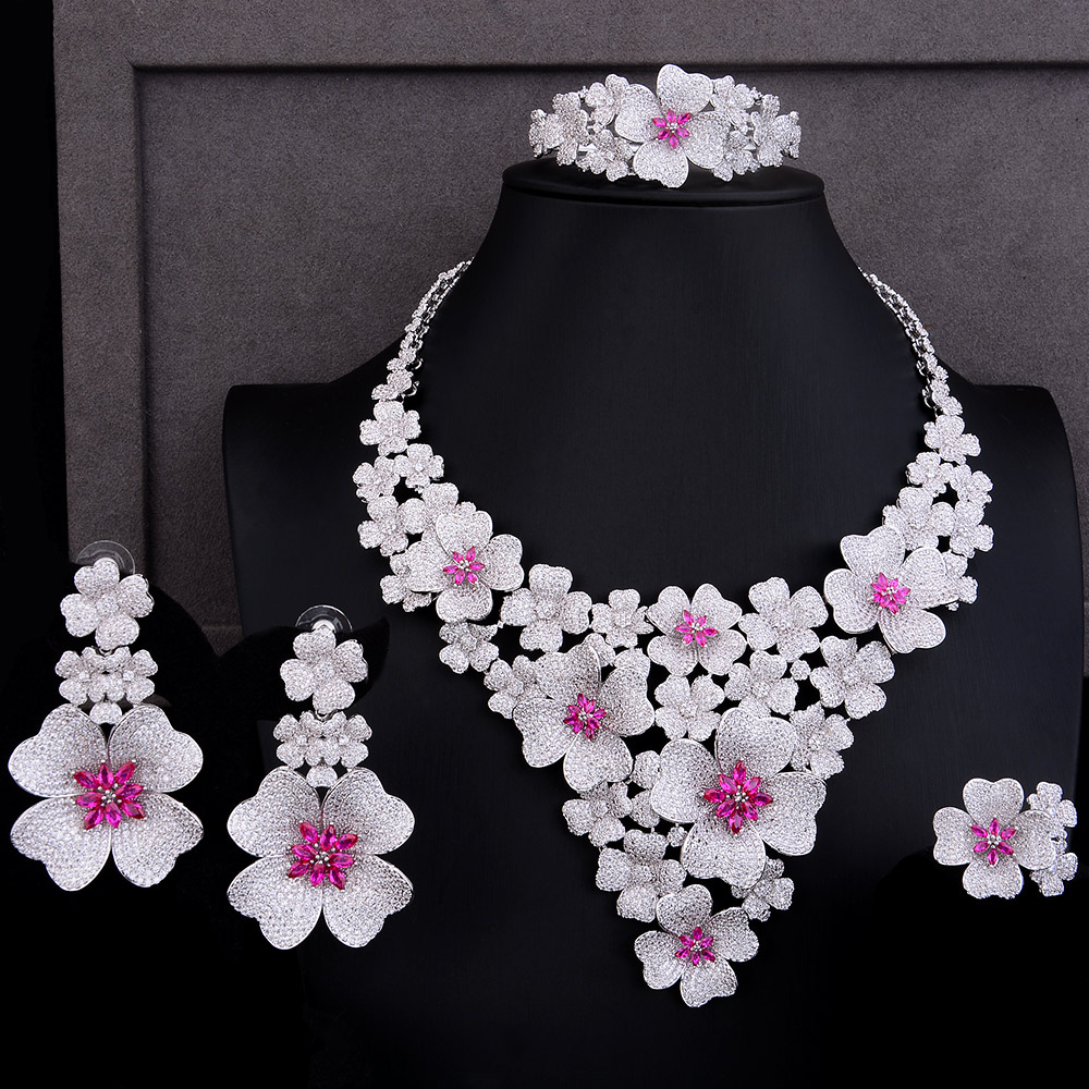 GODKI Luxury Super Big Blossom Flower 4PCS African Jewelry Sets For Women Wedding Zircon CZ Nigeria