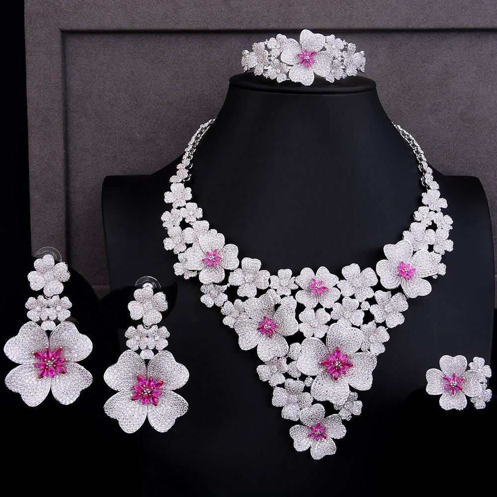 GODKI luksusowe Super duży kwiat kwiat 4 sztuk afryki ślubne biżuteria zestawy dla kobiet cyrkon CZ nigerii dubaj złota biżuteria ustawia 2019 w Zestawy biżuterii od Biżuteria i akcesoria na  Grupa 1