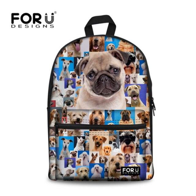 ac1e6ca873 FORUDESIGNS Children School Bags Women Cute Pug Dog Schoolbag For Teenager  Girls Canvas Students School Bag