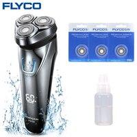 Flyco máquina de barbear barbeador elétrico barbeador elétrico ipx7 à prova dwaterproof água 1 hora carga lavável recarregável rotativo fs339h lâmina óleo|Barbeadores elétricos| |  -