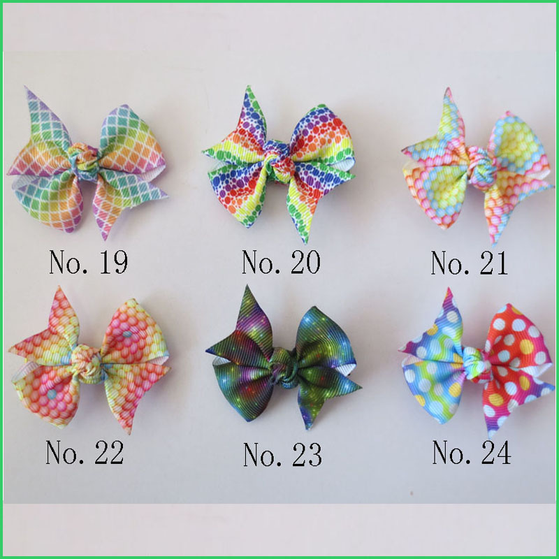 "100 BLESSING Good Girl Rainbow Unicorn 7/"" Cheer Leader Hair Bow Elastic 49 No."