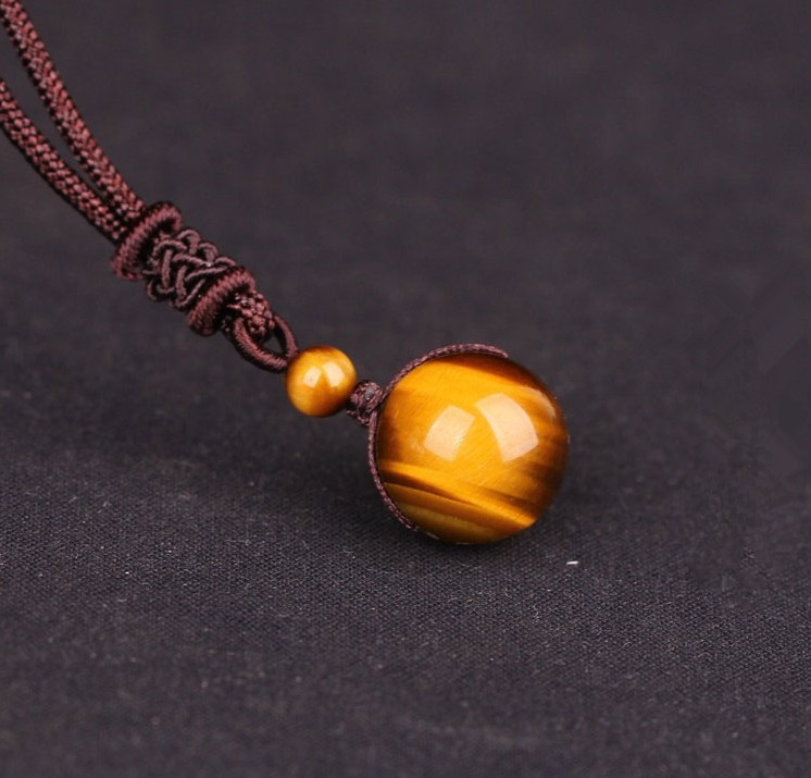 Black & Gold Obsidian Stone Necklace