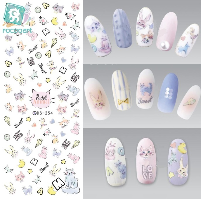 ds238 diy designer beauty water transfer nails art sticker pineapple rabbit harajuku nail wraps foil sticker taty stickers Rocooart DS254 DIY Designer Water Transfer Nails Art Sticker Colorful Cartoon Cats Drawing Nail Wraps Sticker manicure stickers