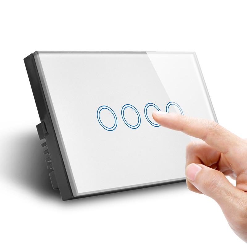 Quatre Gangs WiFi Contrôle Interrupteur Mural US UA Tactile Standard Vie Intelligente Tuya Contrôle - 4