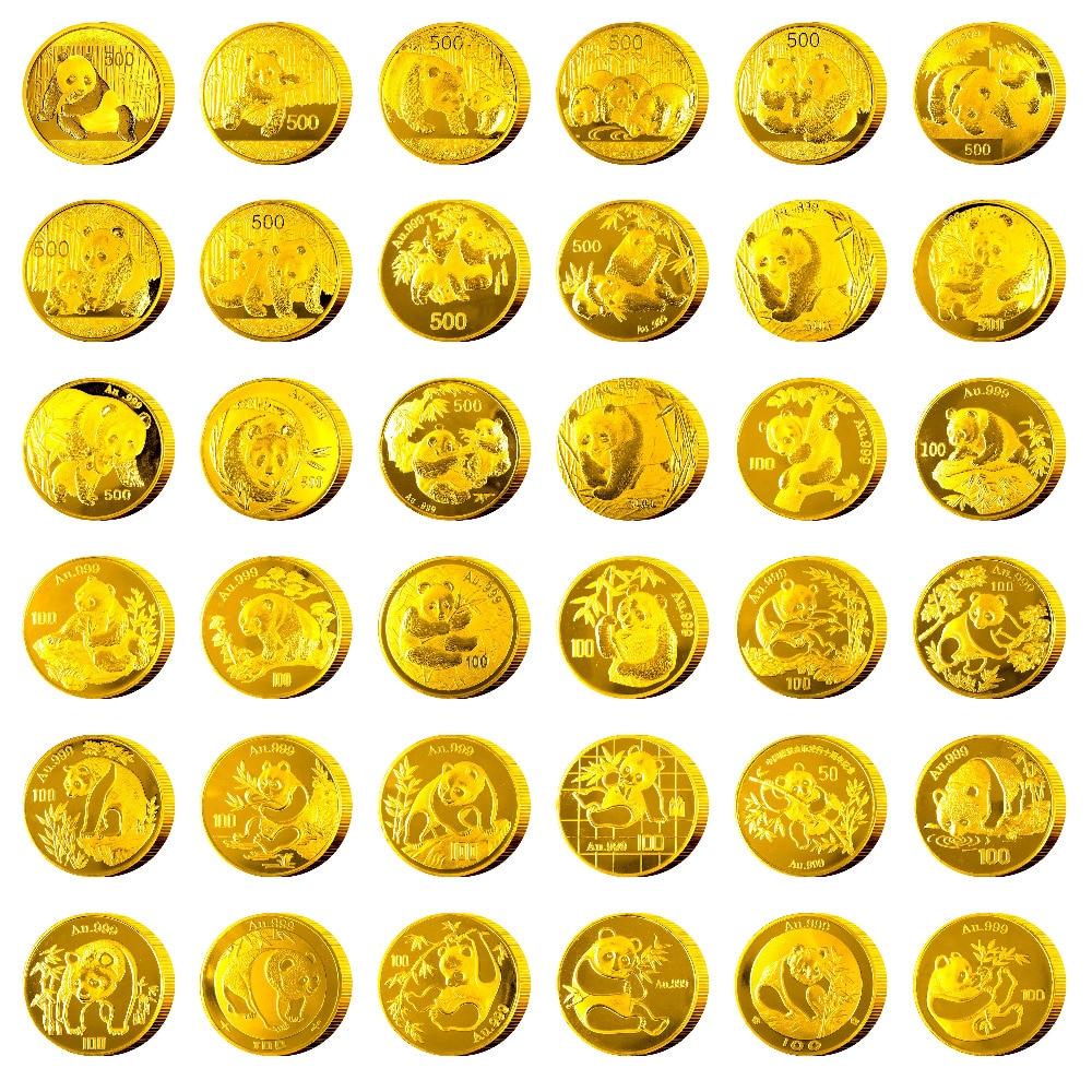 38 pièces 2018 an chine panda pièce commémorative plaqué or œuvre cadeau présent avec boîte et certificat