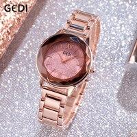 GEDI Womens Wristwatch Starry Elegant Quartz Women Watch Rose Gold New Ladies Brand Luxury Relogio Feminino Reloj Mujer Fashion