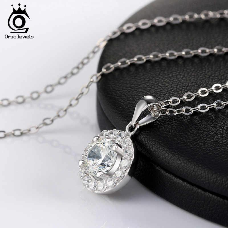 ORSA JEWELS стерлингового серебра 925 Роскошные Большие размеры AAA австрийский кубический цирконий длинная цепь подвески ожерелья ювелирные изделия для женщин SN43