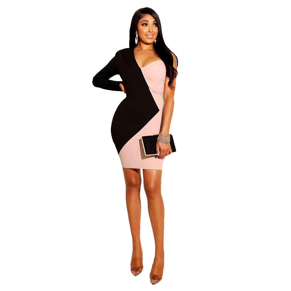 Women Elegant Dress 2019 Summer One Off Shoulder Patchwork Mini Dresses OL Style Work