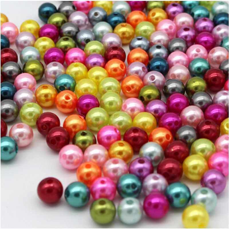 GHRQX  6/8/10mm Mix color Pearl Imitation Round Beads Jewelry Accessories