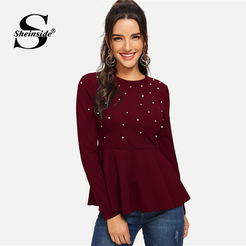 Sheinside Pearls Beaded Elegant   Blouse   Peplum Top Red Ruffle Hem Ladies Tops And   Blouses   2018 Autumn Women Long Sleeve   Shirts