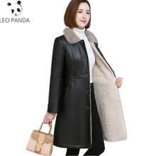 Winter Superior quality Sheepskin Coat Women Double-faced Fur Coats Thick Warm Genuine Leather Jacket Natural Mink Fur Collar