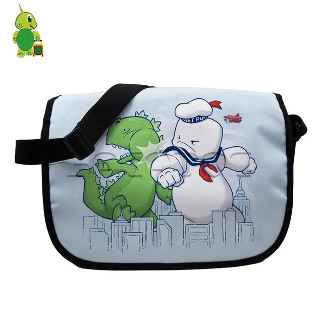 a6b7d5f770e2 US $17.84 15% OFF Chibi Godzilla Vs Stay Puft Marshmellow Man Messenger  Bags School Handbag for Students Kids Bookbags Crossbody Shoulder Bag-in ...