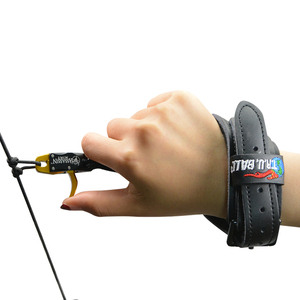 Image 5 - Archery Compound Bow Releases CNC Aluminum Alloy+Cowhide Wristband Camping Practicing Shooting Hunting Bow And Arrow Accessories