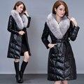 NEW 2016 Winter Women Luxury Fur Coat Fox Fur Leather Jacket Women Long Design Down Jacket