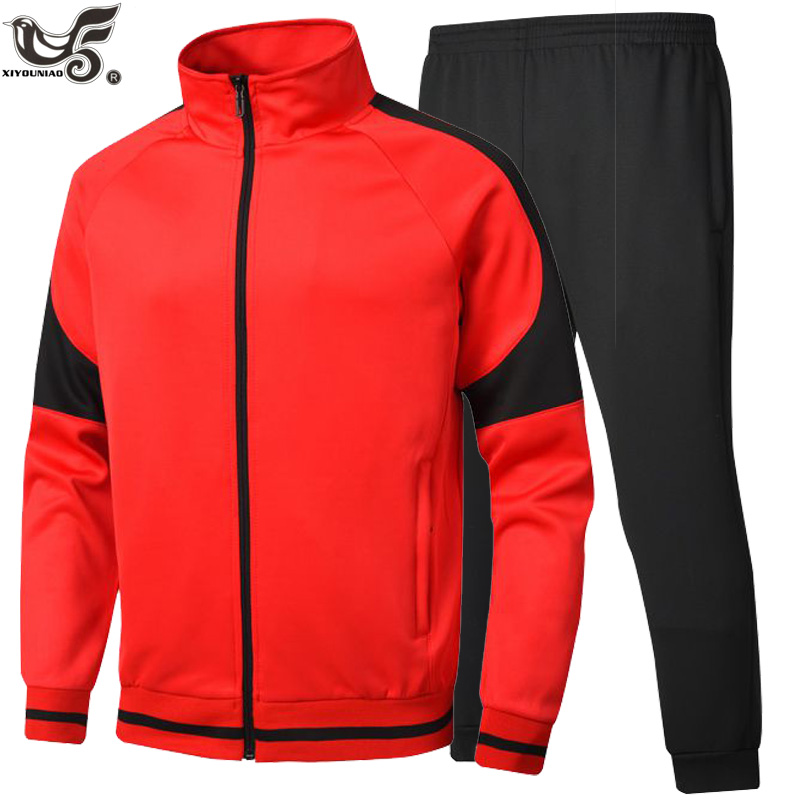 New Men Set Casual For Sportswear Suit Hooded Sweatshirt Tracksuit Men's Patchwork Sporting Jackets + Pants 2pcs Track Suit Man