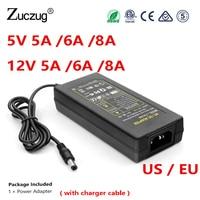 Адаптер Питание Зарядное устройство Трансформатор 12 В 5 В 5A 6A 8A DC 220 В вольт к DC 12 В 5 В ЕС США переходник со штепсельным выключателем для свето...