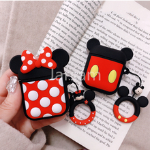 For AirPods Case Bluetooth Wireless Earphone Apple Airpods 2 Charging Cartoon Protective Cover with Finger Ring Strap