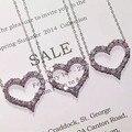 Designer de Moda 925 Sterling Silver Jewelry Platinadas 3A Cubic Zirconia Colar Coração Partido