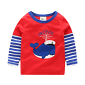Kids boys t shirt baby boys long sleeve shirt stripe sleeve cartoon 100% cotton casual top spring and autumn