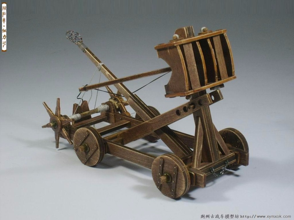 Free shipping The Age of Empires chariots model kit catapult wooden model & English instructions image