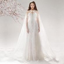 New Wedding Jackets Cloak Bolero Women Vintage Bridal Capes Coat Applique Tulle Net White chaqueta Bride Wedding Accessories