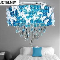 Circle Crystal Lamp Bedroom Blue Brief Modern Remote Control Dimming Palette Ceiling Light