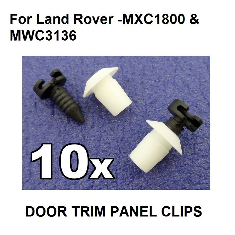 For Land Rover Defender Interior Door Card Panel Trim Clip Set- 10x Studs & Grommets, OE#MXC1800 & MWC3136