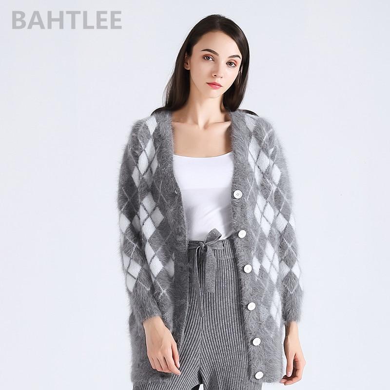BAHTLEE 2018 winter women s angora rabbit cardigans knitting sweater looser fashion brand keep warm GEOMETRIC