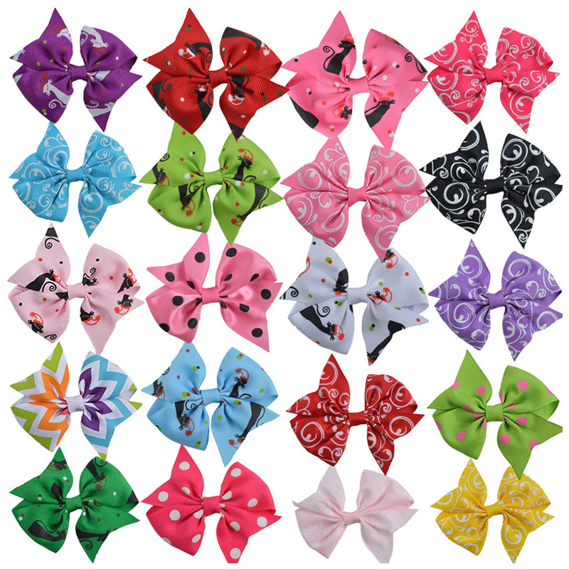 20PCS 3 inch Girls Hair Clips Cute Character & Polka Dot & Floral Pinwheel Ribbon Bow For Kids Children Fashion Hair Accessories