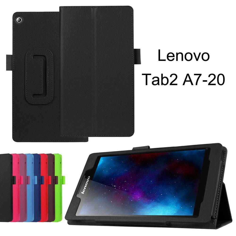 For Lenovo TAB2 7inch A7-10f A7-20f Tablet Case Glass Funda For Lenovo Tab 2 A7-10 A7-20 Case Folding Stand Litchi Leather Cover