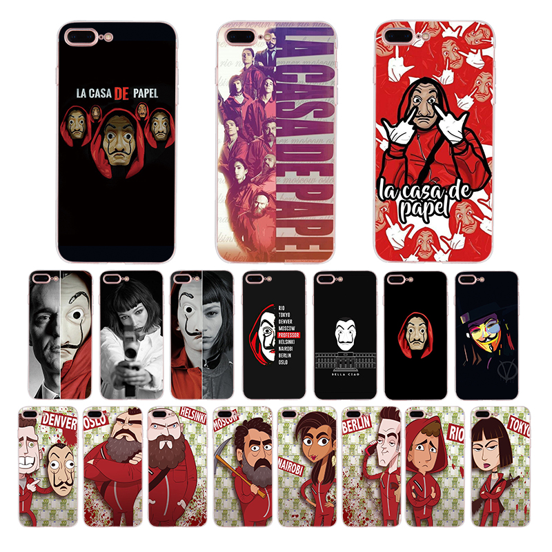TV series Money Heist House of Paper Soft TPU phone cover for iPhone 7 8 6 6S Plus X XS MAX XR case 5s 5 SE shell Funda Coque image
