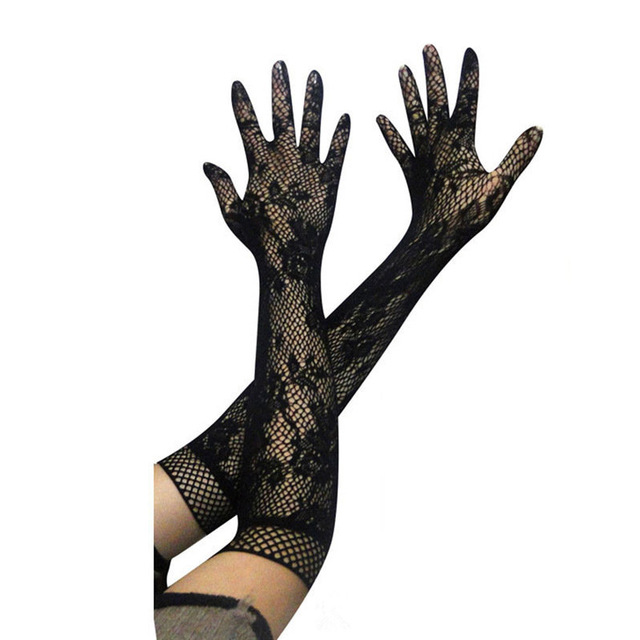 1 Pair Black White Fashion Sexy Women Lace Stretchy Elbow Length Evening Party Gloves Summer Sunscreen Fishnet Long Gloves