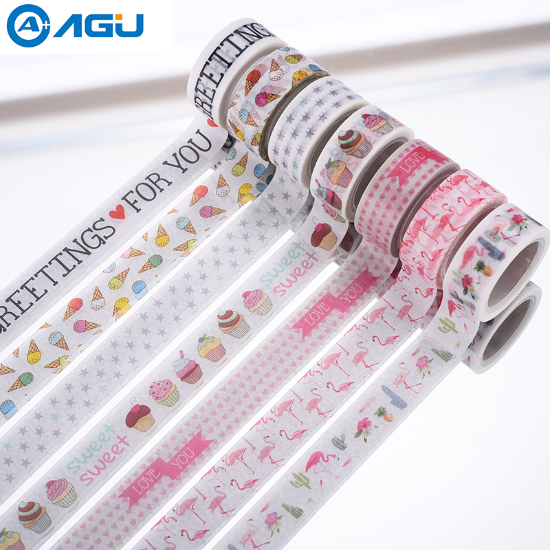 AAGU 1PC 15mm*5m Flamingo Ice Cream Washi Tape Decorative Paper Masking Tape For DIY Lover Scrapbooking Adhesive Paper Tape