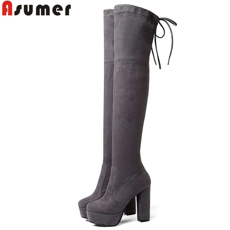 ASUMER 2018 new shoes woman round toe over the knee boots women platform thick high heels suede leather thigh high boots стоимость