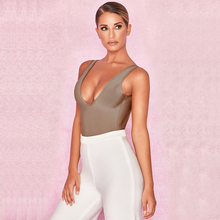 BEAUKEY 2018 New Arrival Women Sexy U Neck Bodysuits Khaki Top Night Club